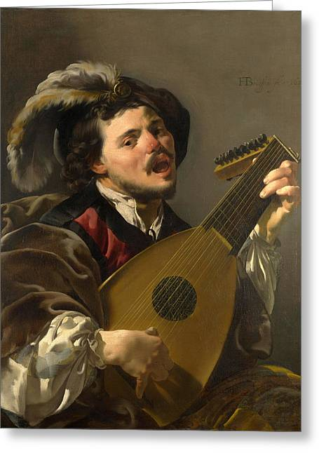 Lute Paintings Greeting Cards - A Man playing a Lute Greeting Card by Hendrick ter Brugghen
