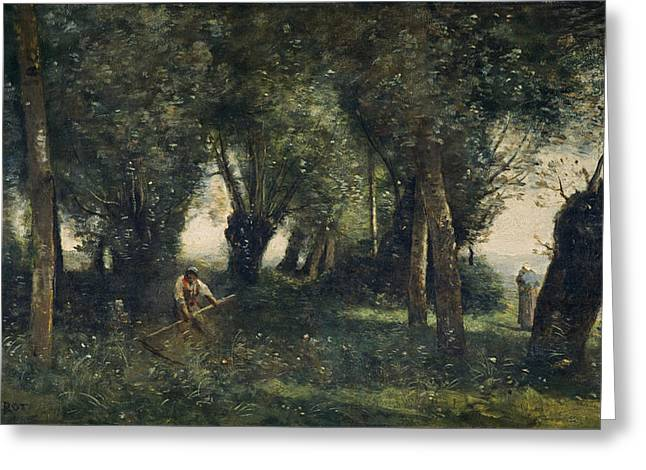 Scythe Greeting Cards - A Man Scything By A Willow Grove, Artois, C.1855-60 Oil On Canvas Greeting Card by Jean Baptiste Camille Corot