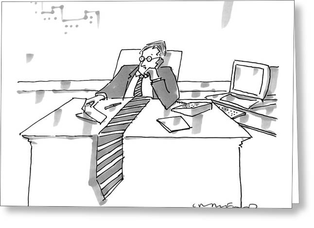 A Man Sits At His Office Desk On The Phone Greeting Card by Michael Crawford