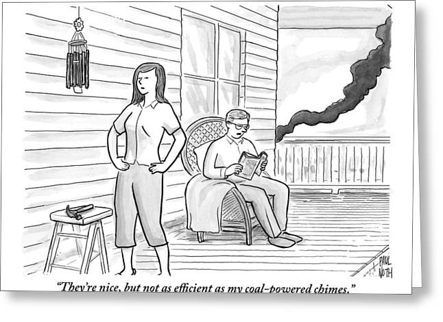 A Man Sits On The Porch Greeting Card by Paul Noth