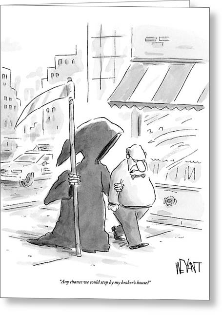 A Man Walks Down The Street With The Grim Reaper Greeting Card by Christopher Weyant