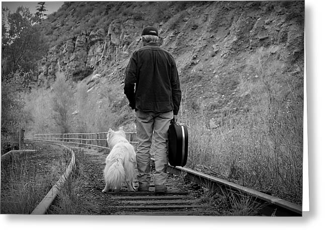Dog Walking Greeting Cards - A Man With A Guitar and His Best Friend Greeting Card by Fiona Kennard