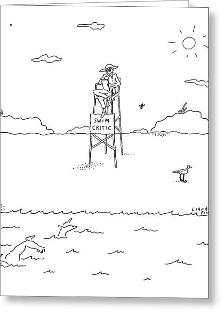 A Man With A Notebook Sits In A Lifeguard Chair Greeting Card by Liana Finck