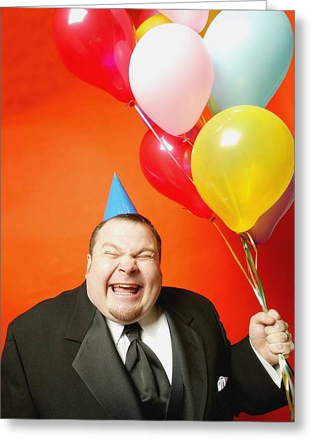 Absurd Surreal Greeting Cards - A Man With Balloons Greeting Card by Darren Greenwood