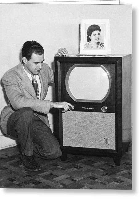 1950s Tv Greeting Cards - A Man With His TV Greeting Card by Underwood Archives