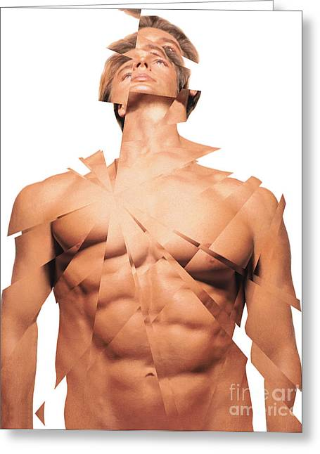Male Torso Greeting Cards - A Mans Face And Torso Greeting Card by Dennis Potokar
