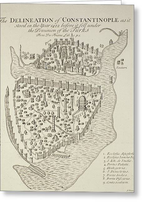 Golden Drawings Greeting Cards - A map of Constantinople in 1422 Greeting Card by Cristoforo Buondelmonti