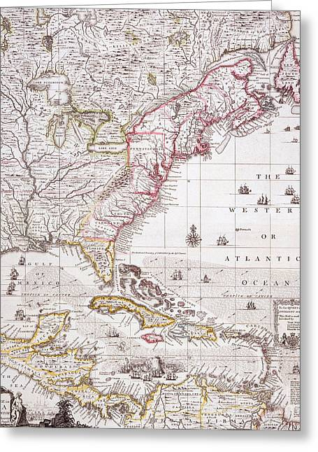 Williams Greeting Cards - A Map of the British Empire in America with the French settlements adjacent thereto Greeting Card by Henry Popple