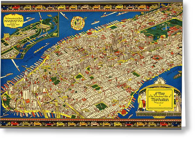 Caribbean Sea Paintings Greeting Cards - A map of the wondrous isle of Manhattan Greeting Card by Charles Vernon Farrow