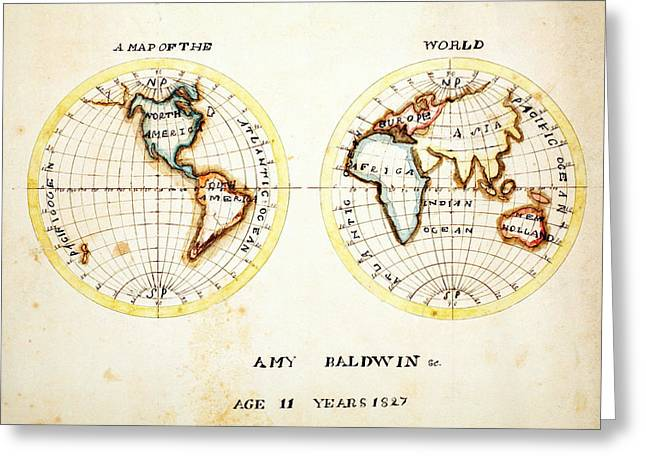Vector Image Paintings Greeting Cards - A Map of the World 1827 Greeting Card by Celestial Images