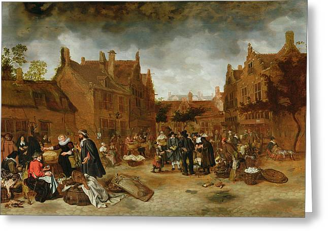 Market Square Greeting Cards - A Marketplace In Winter, 1653 Greeting Card by Sybrandt van Beest