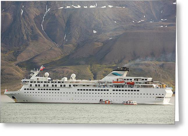 A Massive Cruise Ship In Longyearbyen Greeting Card by Ashley Cooper