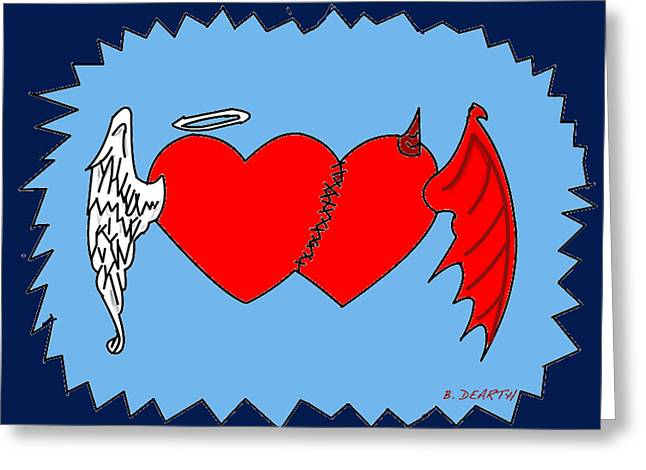 A Match Between Heaven And Hell Greeting Card by Brian Dearth