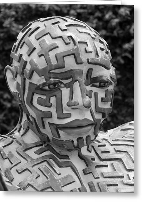 Hands Stilllife Greeting Cards - A Maze Ing Man 11 Black And White Greeting Card by Rob Hans