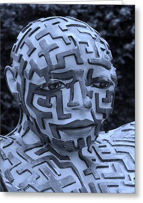 Hands Stilllife Greeting Cards - A Maze Ing Man 11 Cyan Greeting Card by Rob Hans