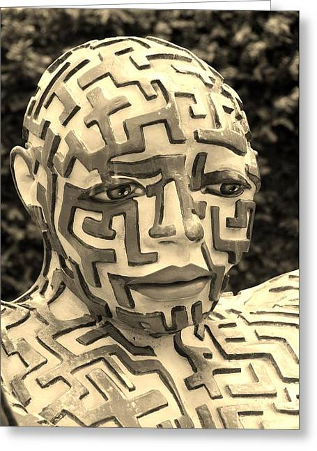 Hands Stilllife Greeting Cards - A Maze Ing Man 11 Sepia Greeting Card by Rob Hans