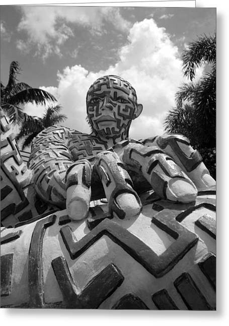 Hands Stilllife Greeting Cards - A Maze Ing Man 7 Black And White Greeting Card by Rob Hans