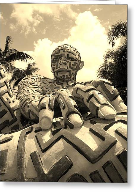 Hands Stilllife Greeting Cards - A Maze Ing Man 7 Sepia Greeting Card by Rob Hans
