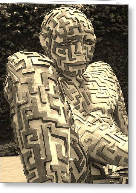 Hands Stilllife Greeting Cards - A Maze Ing Man 8 Sepia Greeting Card by Rob Hans