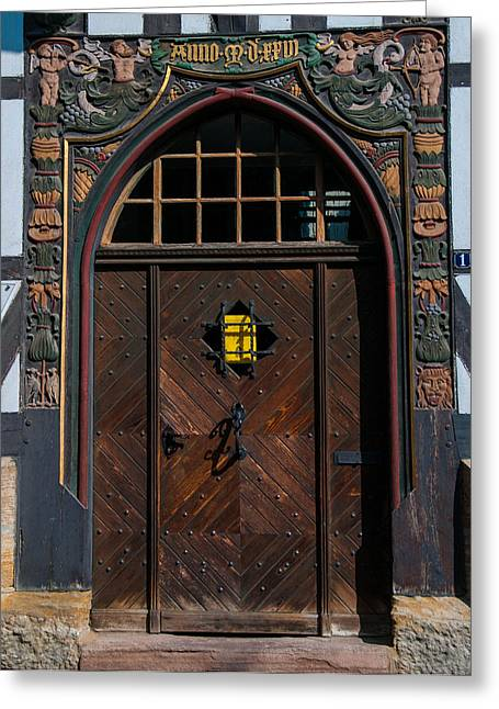 Old Door Greeting Cards - A Medieval Door Greeting Card by Martina Thompson