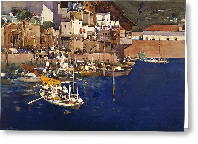 Water Vessels Greeting Cards - A Mediterranean Port Greeting Card by Arthur Melville