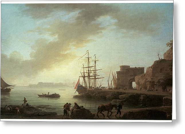 Sailboats In Harbor Greeting Cards - A Mediterranean Port at Dawn Greeting Card by Claude-Joesph Vernet