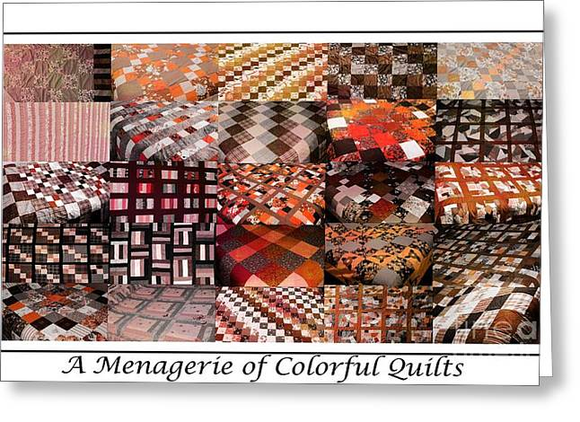 Old Tapestries - Textiles Greeting Cards - A Menagerie of Colorful Quilts -  Autumn Colors - Quilter Greeting Card by Barbara Griffin