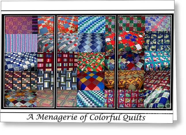 Patch Work Greeting Cards - A Menagerie of Colorful Quilts Triptych Greeting Card by Barbara Griffin