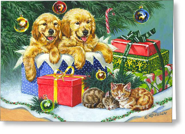 Golden Retriever Puppies Greeting Cards - A Menagerie Under the Tree Greeting Card by Richard De Wolfe