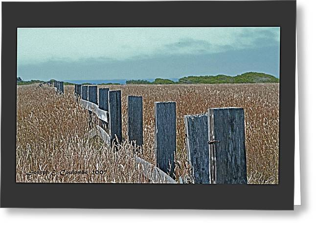 Seacape Digital Art Greeting Cards - A Mendocino Fence Line Greeting Card by Joseph Coulombe