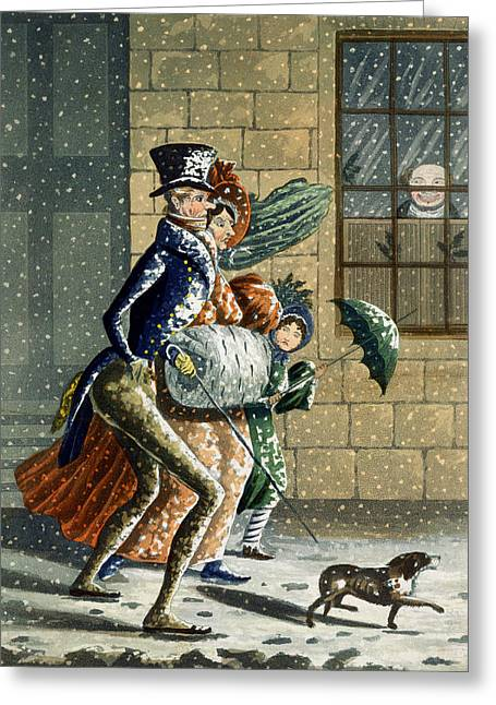 Dog Walking Greeting Cards - A Merry Christmas And Happy New Year Greeting Card by W Summers