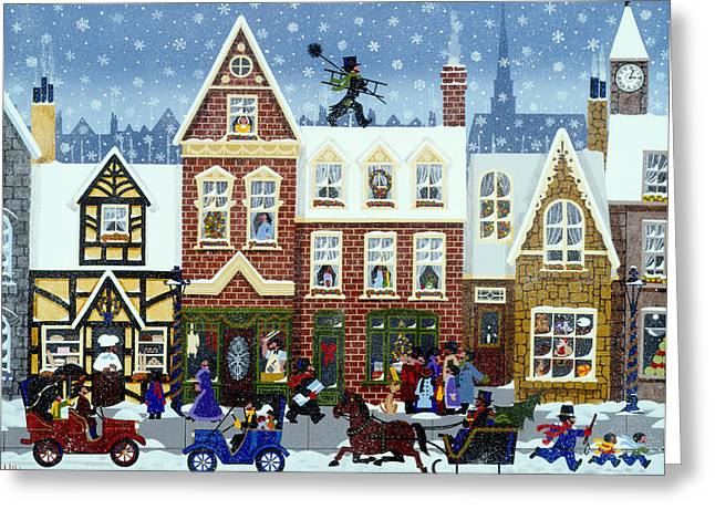 Toy Store Paintings Greeting Cards - A Merry Christmas Greeting Card by Merry  Kohn Buvia