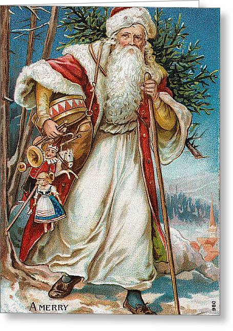 Little Boy Greeting Cards - A Merry Christmas Greeting Card by Unknown