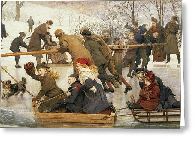 Sledge Greeting Cards - A Merry-go-round On The Ice, 1888 Greeting Card by Robert Barnes