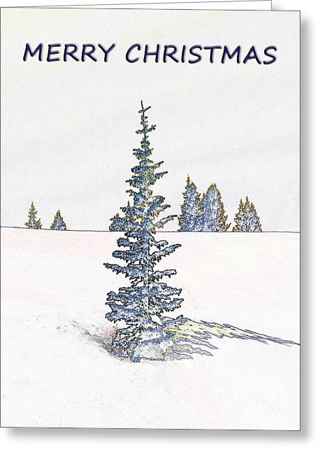 Snow Scene Landscape Greeting Cards - A Merry Little Christmas Greeting Card by Janice Rae Pariza