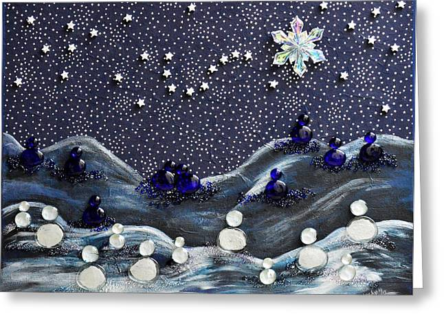 Constellations Paintings Greeting Cards - A Midnight Clear Greeting Card by Donna Blackhall