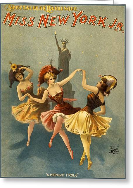 Ballet Dancers Drawings Greeting Cards - A Midnight Frolic Greeting Card by Aged Pixel