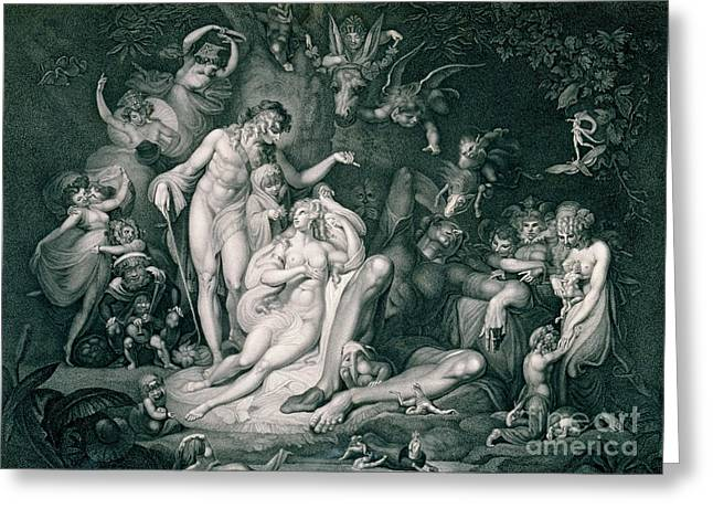 Dreams Drawings Greeting Cards - A Midsummer Nights Dream Greeting Card by Henry Fuseli