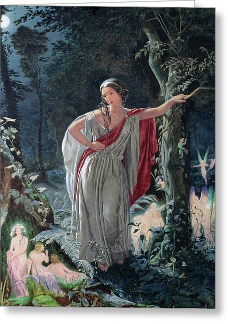 Fairies Drawings Greeting Cards - A Midsummer Nights Dream Hermia Greeting Card by John Simmons