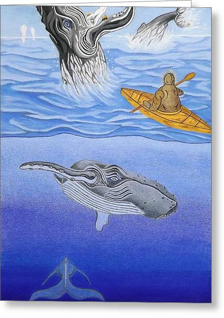 Ocean Images Drawings Greeting Cards - A Mighty Grace Greeting Card by Gerald Strine