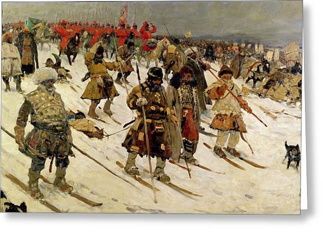 Russian Photographs Greeting Cards - A Military Campaign In Russia During The 16th Century, 1903 Oil On Canvas Greeting Card by Sergej Vasilevic Ivanov