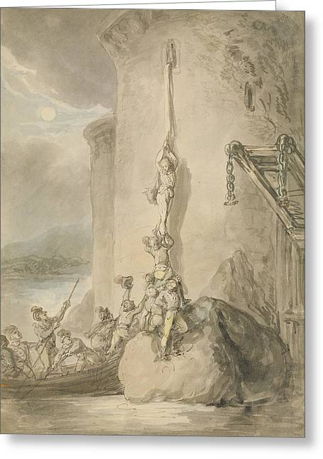 A Military Escapade, C.1794 Pen & Ink With Wc And Wash Over Graphite On Paper Greeting Card by Thomas Rowlandson