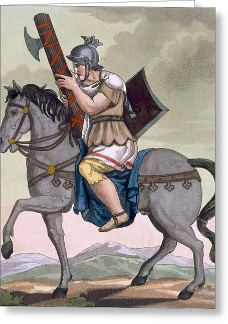 Roman Soldier Greeting Cards - A Military Lictor Of The Cavalry Greeting Card by Jacques Grasset de Saint-Sauveur
