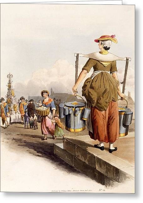 Pewter Jug Greeting Cards - A Milkmaid, From The Costumes Of Great Greeting Card by William Henry Pyne