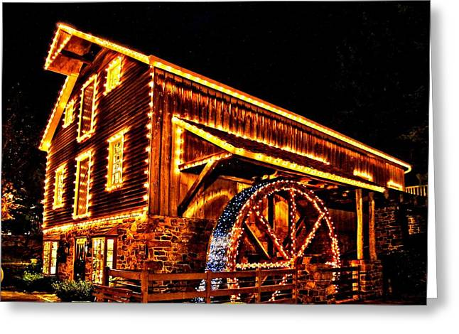 A Mill In Lights Greeting Card by DJ Florek