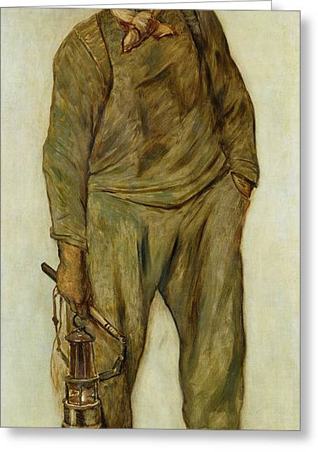 Full-length Portrait Greeting Cards - A Miner Oil On Canvas Greeting Card by Constantin Emile Meunier