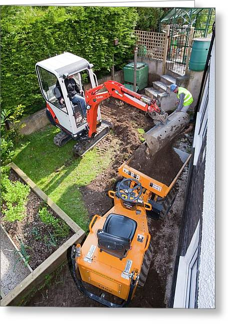 A Mini Digger And Mini Dumper Truck Greeting Card by Ashley Cooper