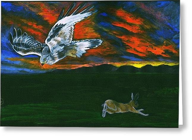 Hunting Bird Greeting Cards - Battle of Wits - Hawk and Rabbit Greeting Card by Zong Yi