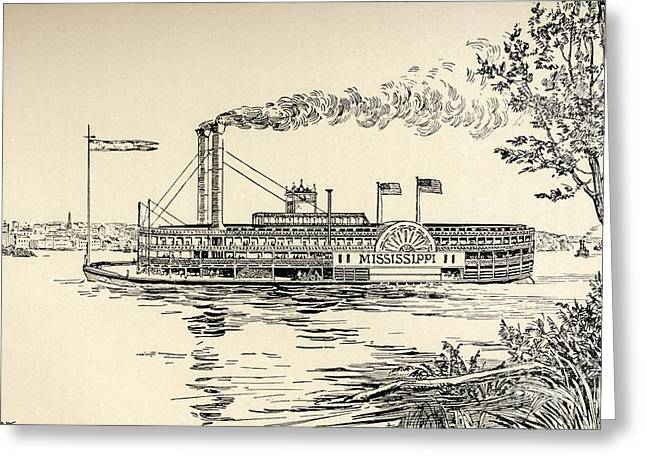Flag Of Usa Greeting Cards - A Mississippi Steamer off St Louis from American Notes by Charles Dickens  Greeting Card by EH Fitchew