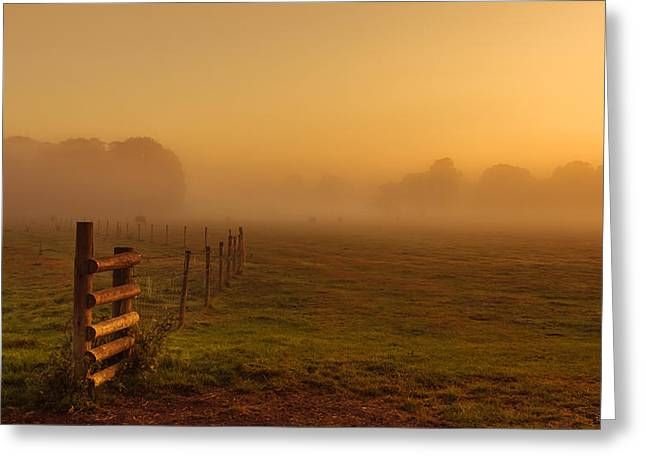 A Misty Sunrise Greeting Card by Chris Fletcher